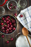 Ingredients for sweet cherry jam Royalty Free Stock Photo