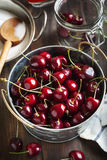 Ingredients for sweet cherry jam Royalty Free Stock Image