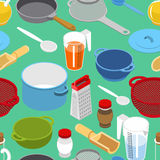 Ingredients and tableware utensil seamless pattern. Grater and c Royalty Free Stock Photos