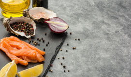 Ingredients for tartare sauce from a salmon Royalty Free Stock Images