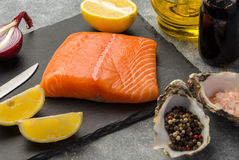 Ingredients for tartare sauce from a salmon Stock Image