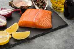 Ingredients for tartare sauce from a salmon Stock Images