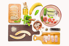 Ingredients for tartines on the white background Stock Photography
