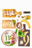 Ingredients for tartines on the white background vertical Royalty Free Stock Images