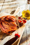 Ingredients for a tasty tomato pasta dish Stock Images