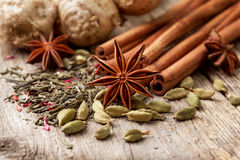 Ingredients for tea with spices Royalty Free Stock Photos
