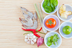 Ingredients for Thai most popular soup . Royalty Free Stock Photos