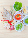Ingredients for Thai most popular soup . Stock Images