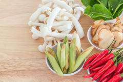 Ingredients for Thai soup, Tom Yum Goong Royalty Free Stock Images
