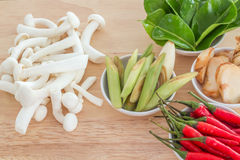 Ingredients for Thai soup, Tom Yum Goong. Thailand Royalty Free Stock Photo