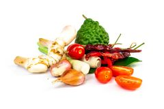 Ingredients Thai spicy soup Tom-yum include lemongrass, kaffir royalty free stock image