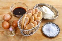Ingredients for tiramisu cake Stock Photo