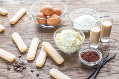 Ingredients for tiramisu on the wooden background Stock Image