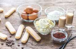 Ingredients for tiramisu on the wooden background Stock Images