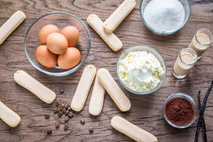 Ingredients for tiramisu on the wooden background Royalty Free Stock Photography