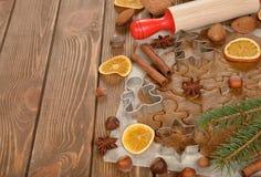 Ingredients to bake Christmas cookies Stock Image