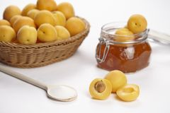 Ingredients to cook apricot jam Stock Image
