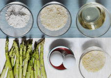 Ingredients to make breaded asparagus Royalty Free Stock Photos