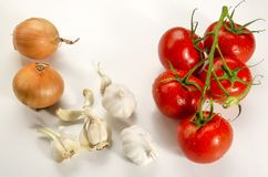Ingredients to make a delicious tomato sauce stock images