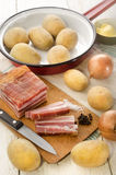 Ingredients to make fried potatoes Stock Images