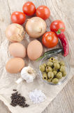 Ingredients to make mediterranean omlette Royalty Free Stock Images