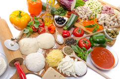 Ingredients to make a pizza Stock Photo