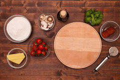 Ingredients to make a pizza at home - top view Royalty Free Stock Images