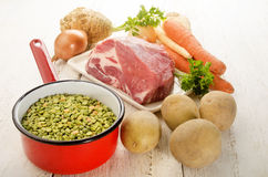 Ingredients to make split pea soup Royalty Free Stock Images