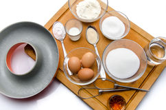 Ingredients to prepare a French ring cake, named savarin Royalty Free Stock Photo
