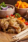 Ingredients to prepare skewers. Stock Photo