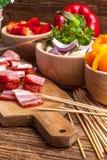 Ingredients to prepare skewers. Stock Images