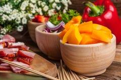 Ingredients to prepare skewers. Royalty Free Stock Photos