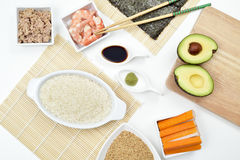 Ingredients to prepare sushi Royalty Free Stock Image
