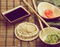Ingredients to Preparing Sushi Royalty Free Stock Images