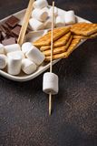 Ingredients for toasting marshmallows and cooking s`mores royalty free stock image