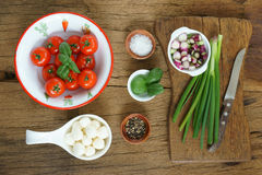 Ingredients for a tomato salad Royalty Free Stock Photo