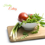 Ingredients for tomato salad or tomato soup with rocket and spri Royalty Free Stock Photos
