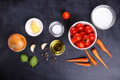 Ingredients for tomatoes soup Stock Images
