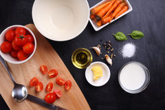 Ingredients for tomatoes soup Stock Photography