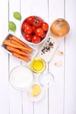 Ingredients for tomatoes soup Royalty Free Stock Photos