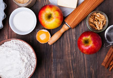 Ingredients and tools for making an apple pie Royalty Free Stock Photo