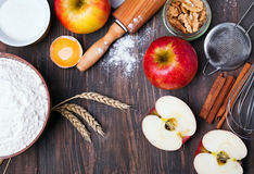 Ingredients and tools for making an apple pie Royalty Free Stock Image