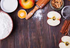 Ingredients and tools for making an apple pie Royalty Free Stock Photography