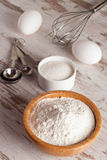 Ingredients and tools to make a cake, flour, sugar,eggs Royalty Free Stock Images