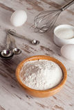 Ingredients and tools to make a cake, flour, sugar,eggs Stock Photo