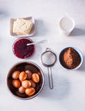 Ingredients and tools to make a cake Royalty Free Stock Images