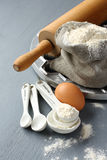 Ingredients and tools to make russian pelmeni Stock Photo