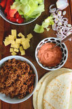 Ingredients for tortillas with meat and vegetables Stock Photography