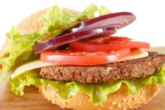 Traditional American cheeseburger. Meat, bun and vegetables close up. Ingredients traditional American cheeseburger. Meat, bun and vegetables close up on white Stock Images