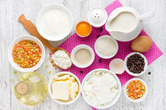 Ingredients for traditional Easter cake kulich Easter bread, pa Stock Photo